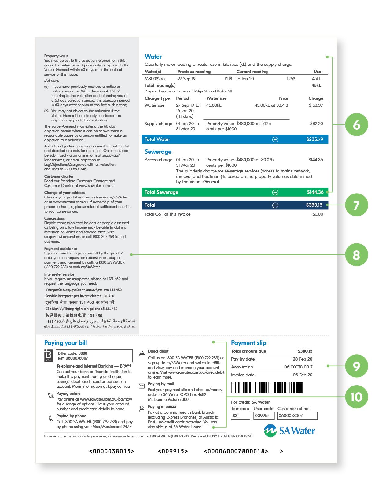 SA Water Bill - page 2