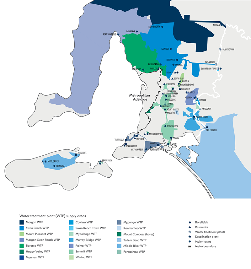 Map of our reservoirs, water treatment plants, and supply areas, outer metro